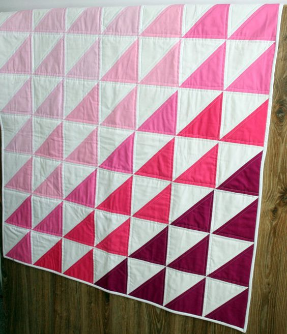 Geometric Triangle baby quilt blanket Pink Ombre by FelixFunhouse, $110.00