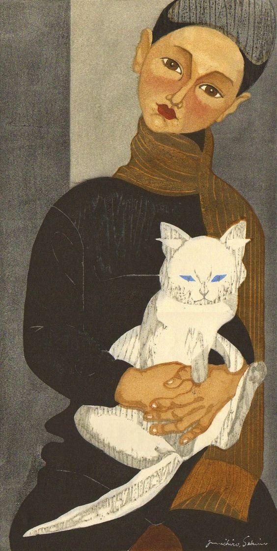 Sekino JUNICHIRO (1914 - 1988) Garçon tenant un chat (1957, gravure sur bois)