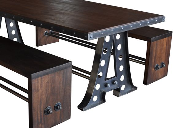 Dining table with mahogany benches restaurant furniture by vintage