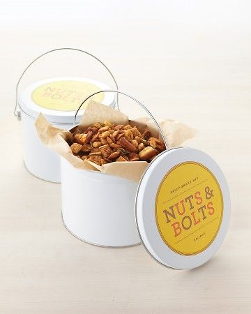 """Make Dad this """"nuts and bolts"""" cereal snack mix that has an addictive blend of savory seasonings and spices. Package this homemade treat in a tin lined with parchment and top it off with our colorful clip art."""