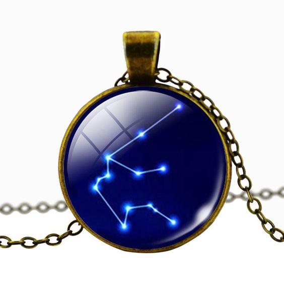 Aquarius Blue Cabochon Glass Constellation Necklace