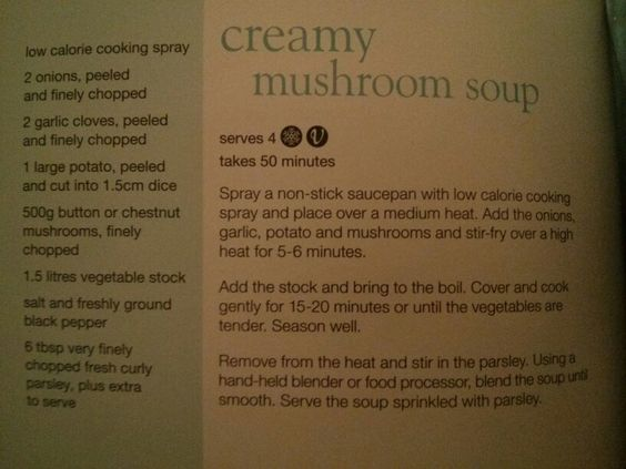 Creamy mushroom soup from Slimming World's little book of soups