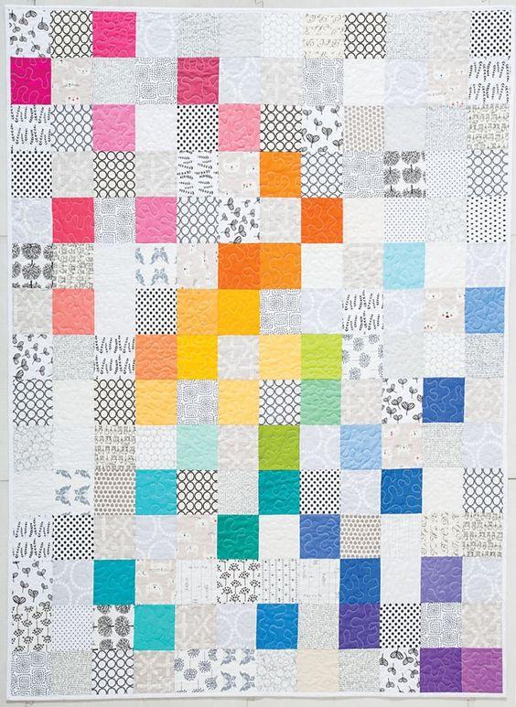 Modern Rainbow quilt by Rebecca Bryan   Blog Hop at Modern Handcraft