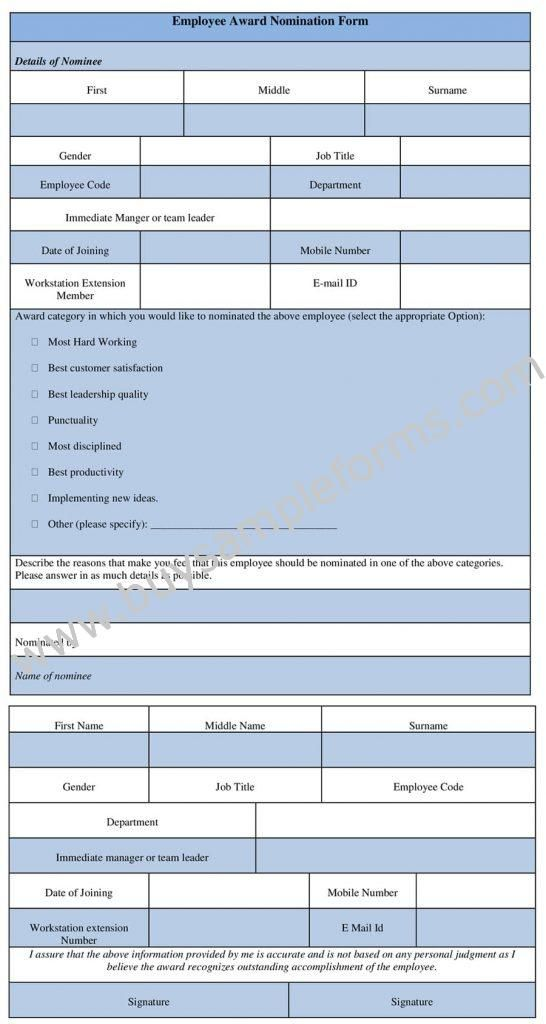 Employee Award Nomination Form Template In Word Format Employee