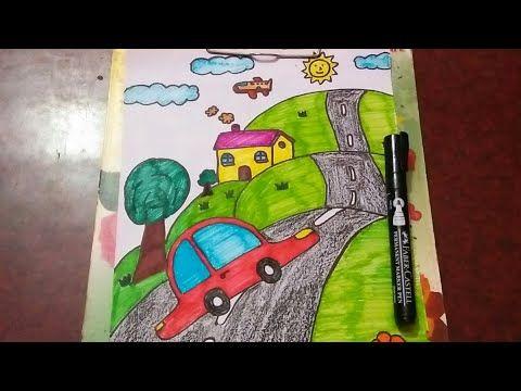 رسم بيت سياره وطريق رسم بسيط للمبتدئين والأطفال Youtube Art Marks