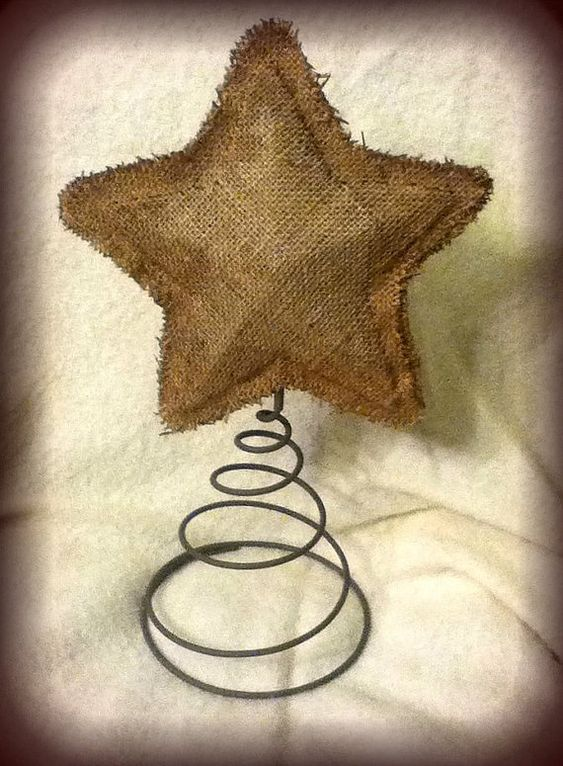 Handmade Burlap Tree Topper Star Christmas Trees Star