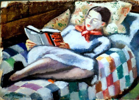 Mildred lendo Emil Holzhauer (Alemanha, 1887-1986) óleo sobre madeira, 35 x 43 cm