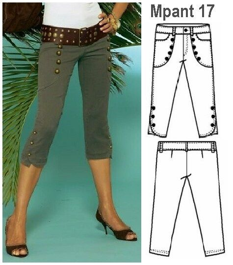Molde Pantalon Capri Mujer 0917 Pantalones Pitillo Mujer Pantalones Pescadores Pantalones