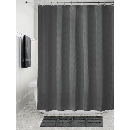 Idesign Waffle Fabric Shower Curtain Charcoal Size 72 Inch X 72