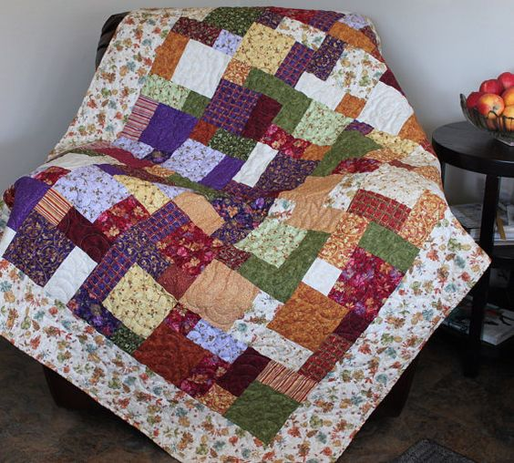 AUTUMN GLORY Patchwork Lap Quilt  Sofa Throw  by KootenayQuilter, $255.00