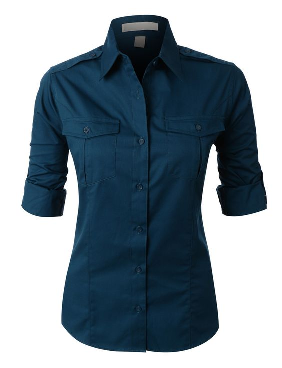 PREMIUM Womens Easy Care Roll Up Sleeve Twill Button Down Shirt ...