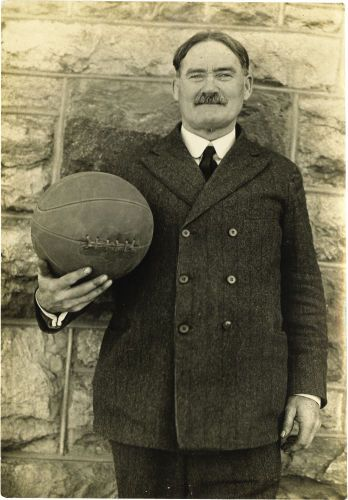 """1920's James Naismith Photograph. Small portrait is iconic image of Naismith with a basketball. Size is 3x5"""". $3,585"""