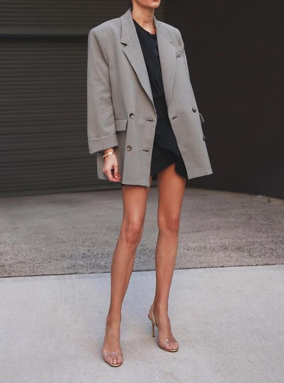 oversized blazer feels chic over a simple all black outfit #outfits #ootd #womensfashion