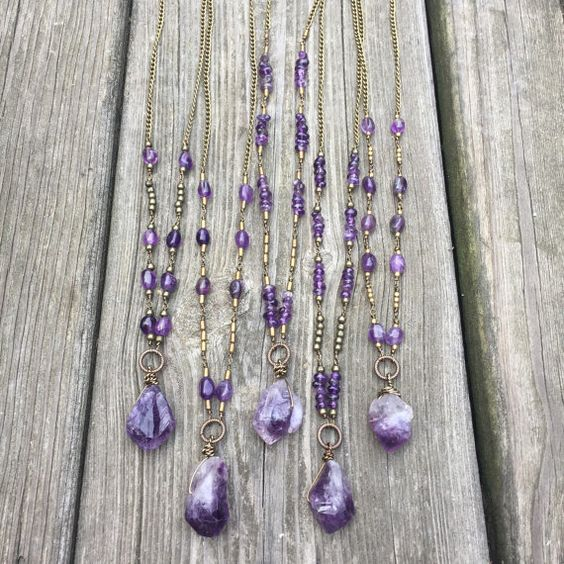 Long amethyst point necklace / bohemian statement necklace / boho crystal necklace / amethyst necklace / bohemian necklace