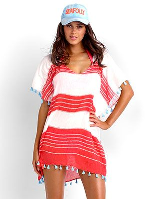 Simple yet stylish kaftan from Seafolly is featured in red hot and white stripes, with light blue accents by Seafolly Swimwear, $71.00