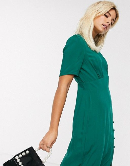 Asos Design Midi Tea Dress With Buttons And Split Detail In Forest Green Asos In 2020 Tea Dress Asos Designs Dresses