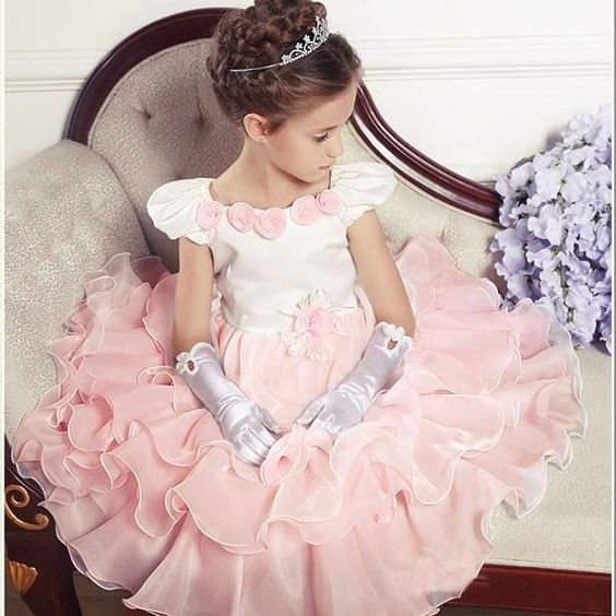 Wholesale High Quality Portrait Neck Tea-length 3D Flowers Kids Satin Flower Girls' Dress Ball Gown Party Dress Children Princess Dress for Wedding, Free shipping, $35.5/Piece | DHgate Mobile