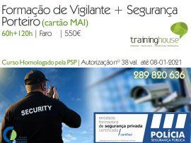Curso de Vigilante  Formação base (60H)  a especifica de porteiro (120H) cartao MAI