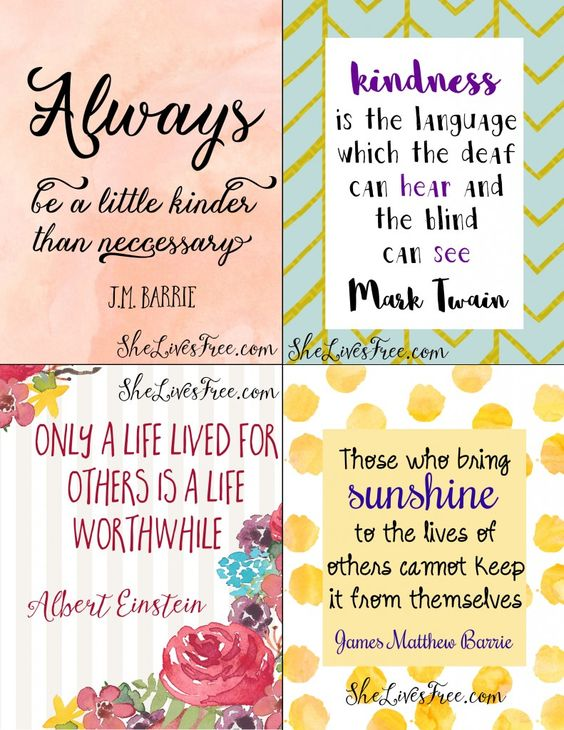 Free Printable Quotes To Inspire Kindness Use As Lunchbox