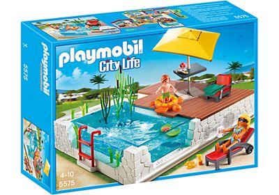 Piscine avec terrasse de playmobil r f 5575 moins cher for Piscine playmobil