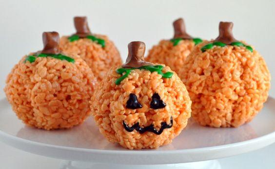 Pumpkin Rice Krispie Treats: Halloween Idea, Party Idea, Halloween Food, Rice Krispie, Krispy Treat