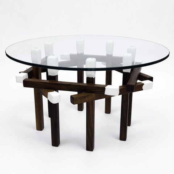 Walnut Octagon Matchstick Table