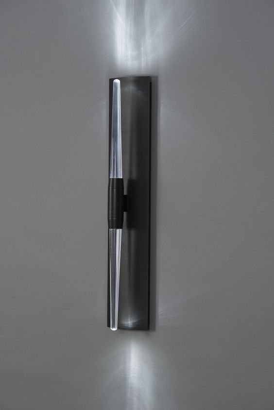 Brass Lighting: Icicle Wand Sconce, shown in Blackened Brass with Clear Glass  Designed by Tom Nahabedia by Boyd Lighting