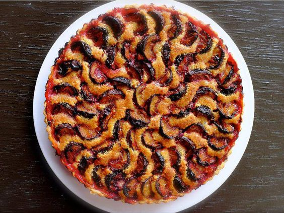 Plum Almond Tart: Serve for dessert with any kind of cream, or with coffee for breakfast.