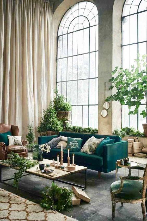 High End Luxury Art Deco Living Room Decor With Indoor Plants And