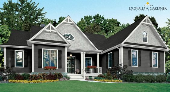 black shingles with light mist hardie shakes and iron grey planks, black accents and white trim