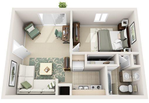 1 Bedroom Junior 3d Plan Apartment Floor Plans Apartment Layout Sims House Design