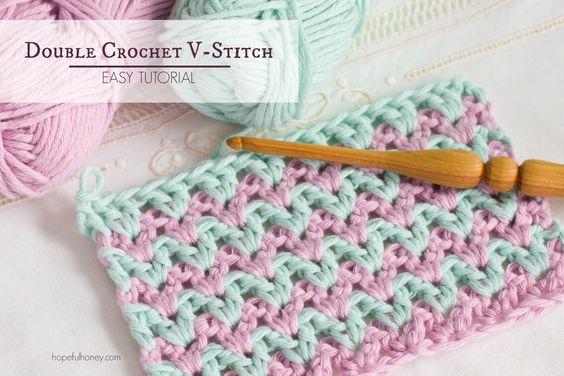 C. Double Crochet V Stitch - VIDEO Tutorial by Hopeful Honey
