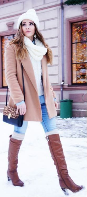 This leopard purse is so cute with this camel coat and white sweater