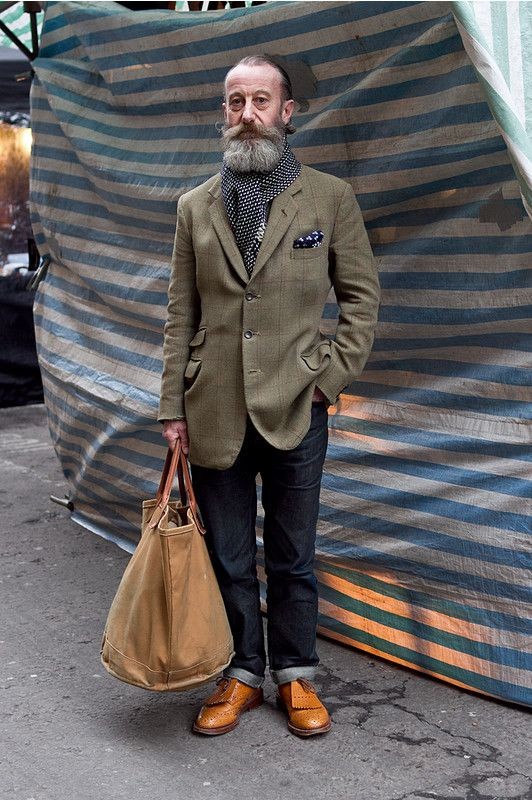 Coggles Street Style with tan brogues, rolled up jeans, green blazer, monochrome…