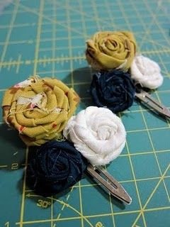 Fabric flower clips... definitely doing this with my scrap fabric from my prom dress to make a perfectly matching accessory :)