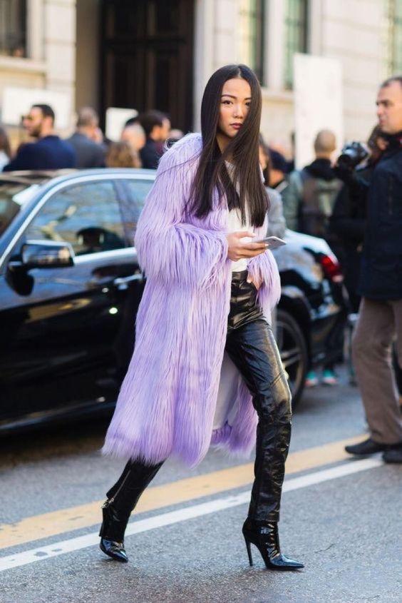 lavander faux fur coat outfit ss2018