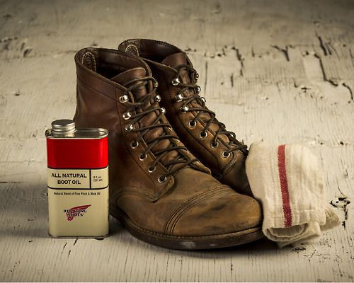 Red Wing Iron Ranger boots with Natural Mink Boot Oil. | Shoes