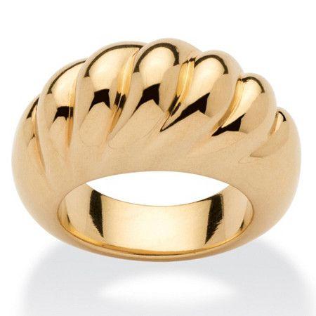 Shrimp-Style Dome Ring 14k Gold Nano Diamond Resin Filled