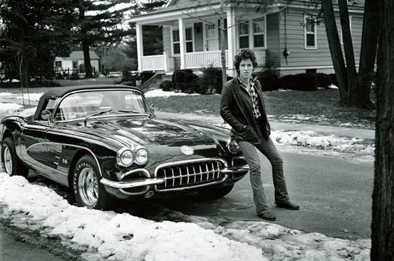 Acquired on the back of a ton of sales for his 'Born to Run' album in 1975, Burce's 1960 Chevrolet Corvette is parked on Colonial Avenue, Haddonfield, New Jersey.