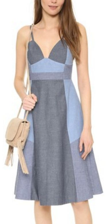 Cynthia Rowley Patchwork Chambray Dress