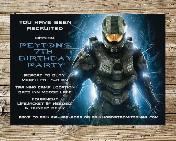 Halo Birthday Party Invitation by PrintsnPretties on Etsy