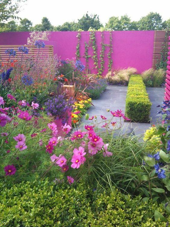 moderne gartengestaltung beispiele farbig blumen sichtschutz rosa, Garten und Bauen