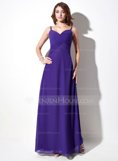 Empire V-neck Floor-Length Chiffon Bridesmaid Dress With Ruffle (007001784) - JenJenHouse