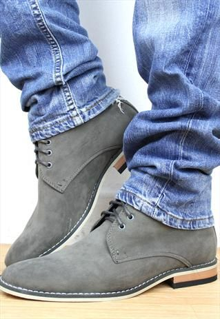 Men's Desert Boots Grey Suede Look Ankle Boots from shoesnbags ...