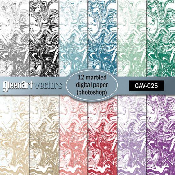 Marbled Papers Digital  12 Marble Printable by GleenArt on Etsy