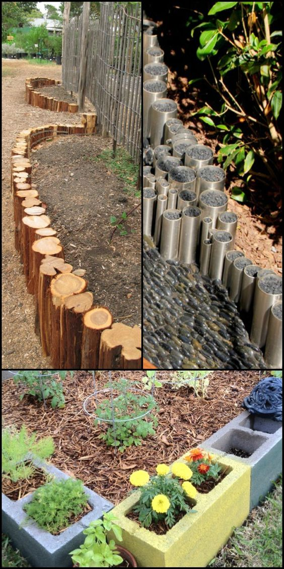 Ten Interesting Garden Bed Edging Ideas  Need edging for your new garden bed? Head over to our site to see edging ideas for all budgets!  These ideas are perfect for when you want to feature a garden bed in your yard. You can also use some of these materials for creating raised garden beds!