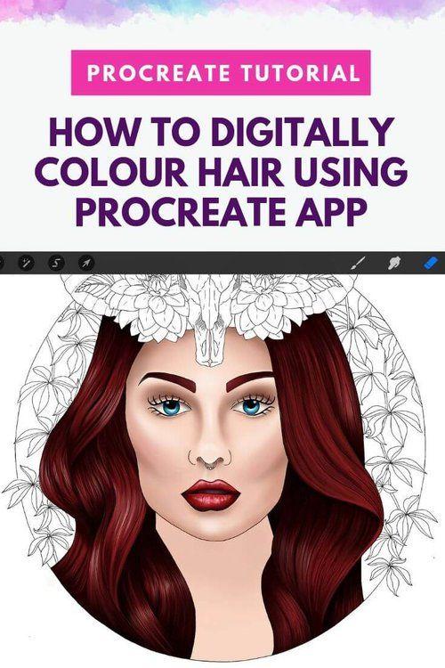Digital Colouring Tutorial How To Colour Hair Using Procreate App Procreate Tutorial Coloring Colourin In 2020 Coloring Tutorial Procreate Tutorial Procreate App