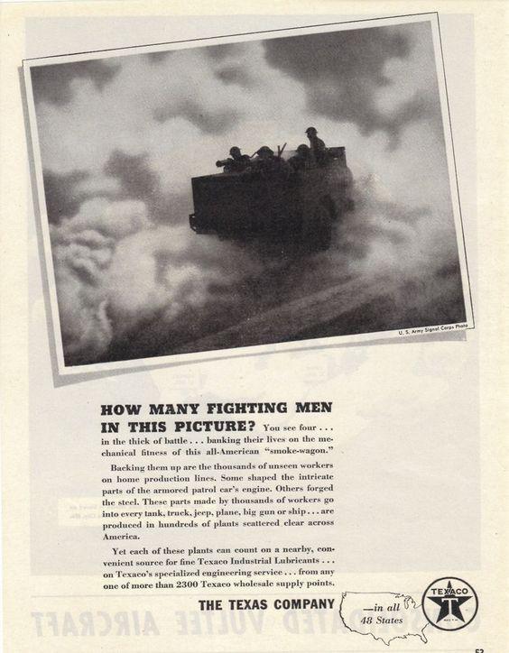 Texas Company Texaco Gas WWII print ad 1943 Army Jeep #Texaco