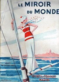 Original French Vintage Poster Ad - Travel - 1933 - Cover, Art Illustration, Miroir du Monde .