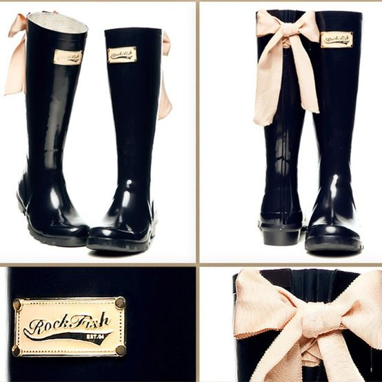 rain boots with ribbon bows on the back. so cute. | solestruck ...
